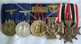 5 medals bar for a german Customs Policeman.
