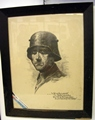 Framed pencil portrait of a veteran of WW1