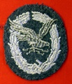 Embroidered badge for a radio operator of the Luftwaffe.
